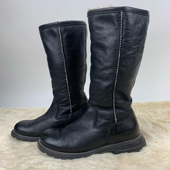 e39481fa913 UGG Brooks Black Tall Leather Boots Size 7